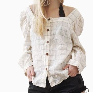 Universal Thread windowpane button down blouse